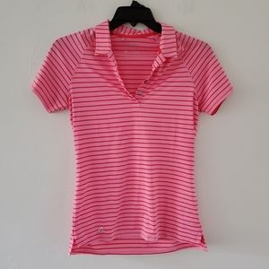 Adidas Pink/Red Striped Polo Size S
